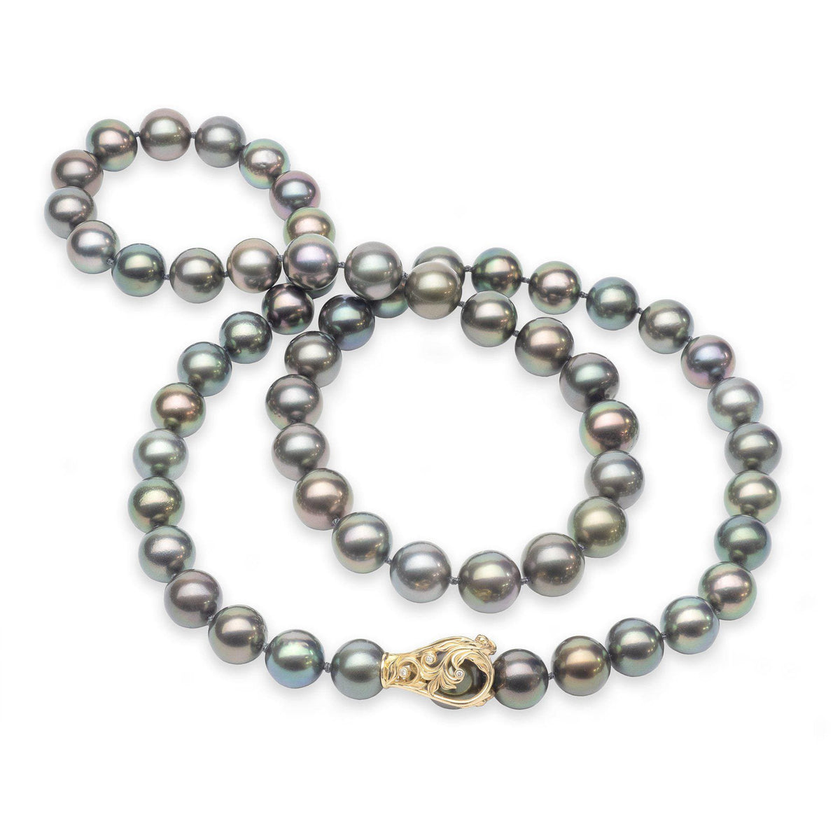 "33"" Adjustable Tahitian Black Pearl Strand in Gold with Diamonds"