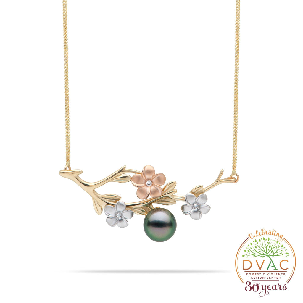 DVAC - Pearls in Bloom Tahitian Black Pearl Necklace in Tri Color Gold with Diamonds - 48mm-[SKU]