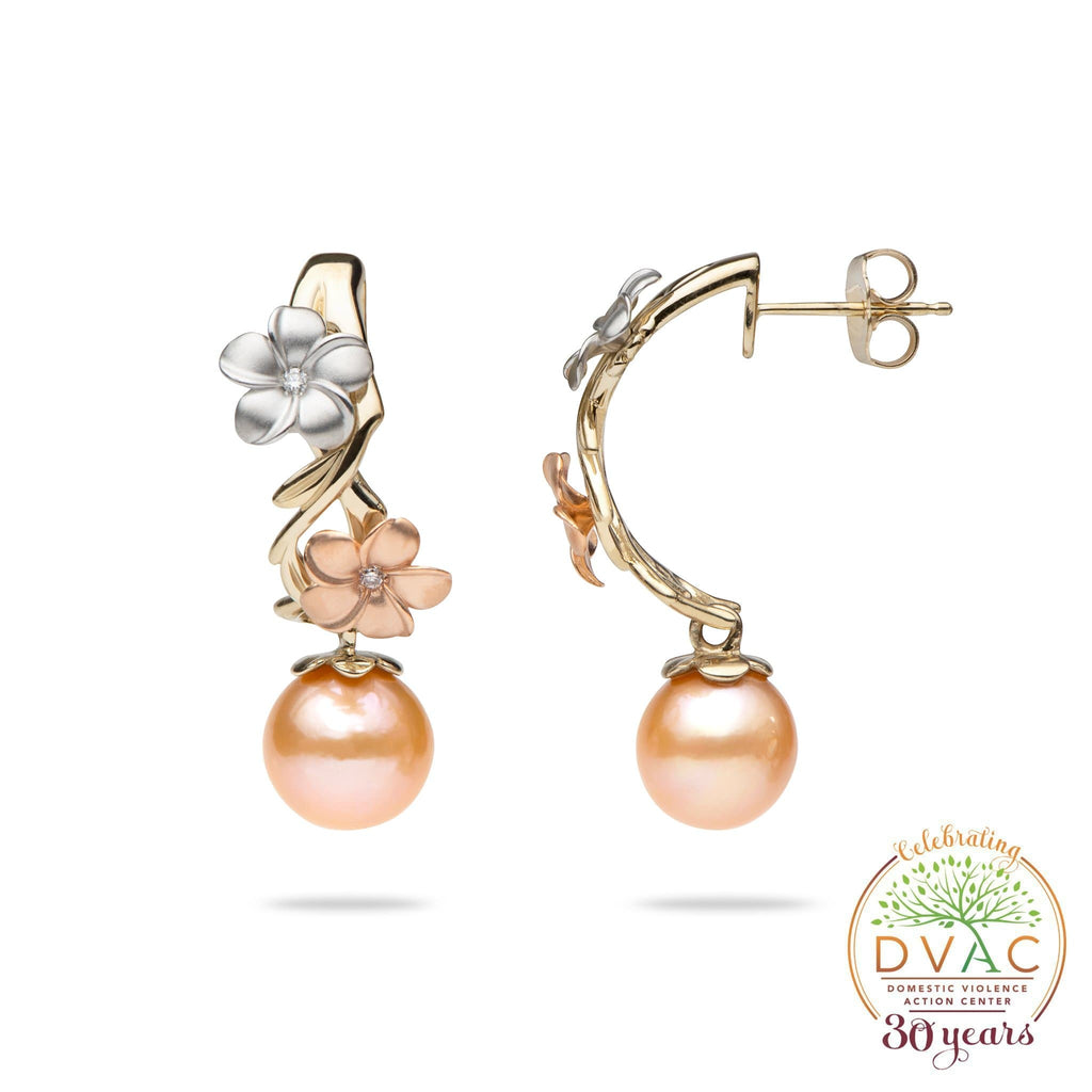 DVAC - Pearls in Bloom Freshwater Pearl Earrings in Tri Color Gold with Diamonds- 23mm-[SKU]