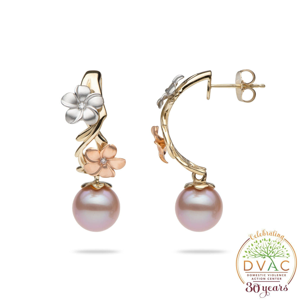 DVAC - Pearls in Bloom Freshwater Pearl Earrings in Tri Color Gold with Diamonds -23mm-[SKU]