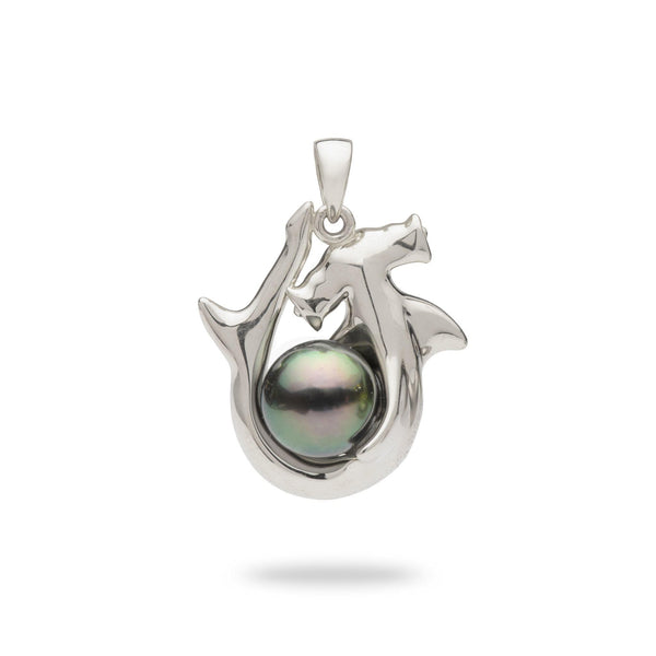 Tahitian Black Pearl Hammerhead Shark Pendant in White Gold-Maui Divers Jewelry