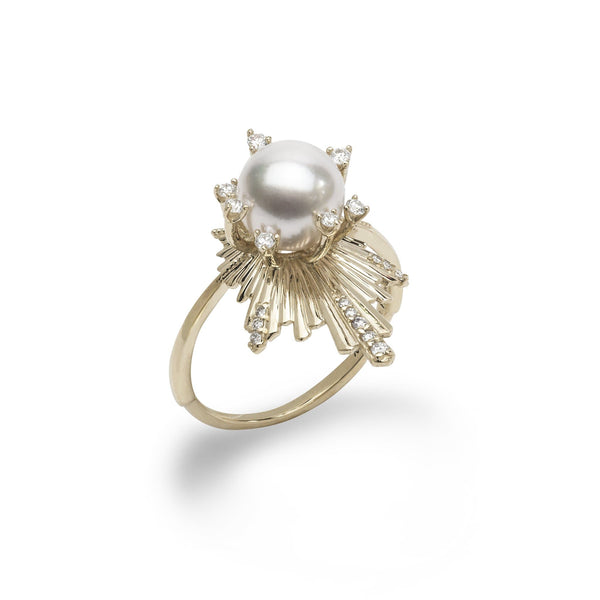 E Ho'āla Akoya Pearl Ring in Gold with Diamonds - 21mm-Maui Divers Jewelry