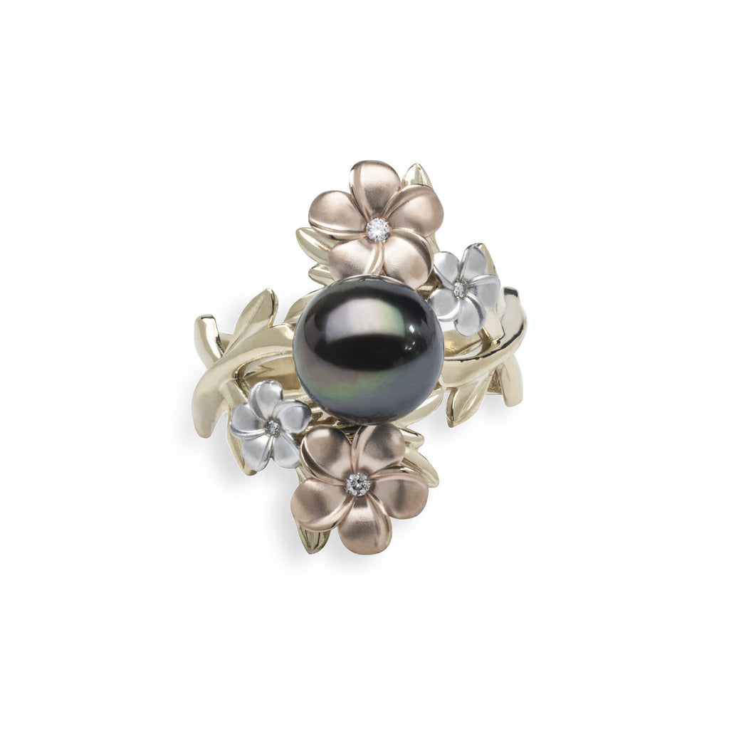 Pearls in Bloom Tahitian Black Pearl Ring in Tri Color Gold with Diamonds - 006-15401 Top