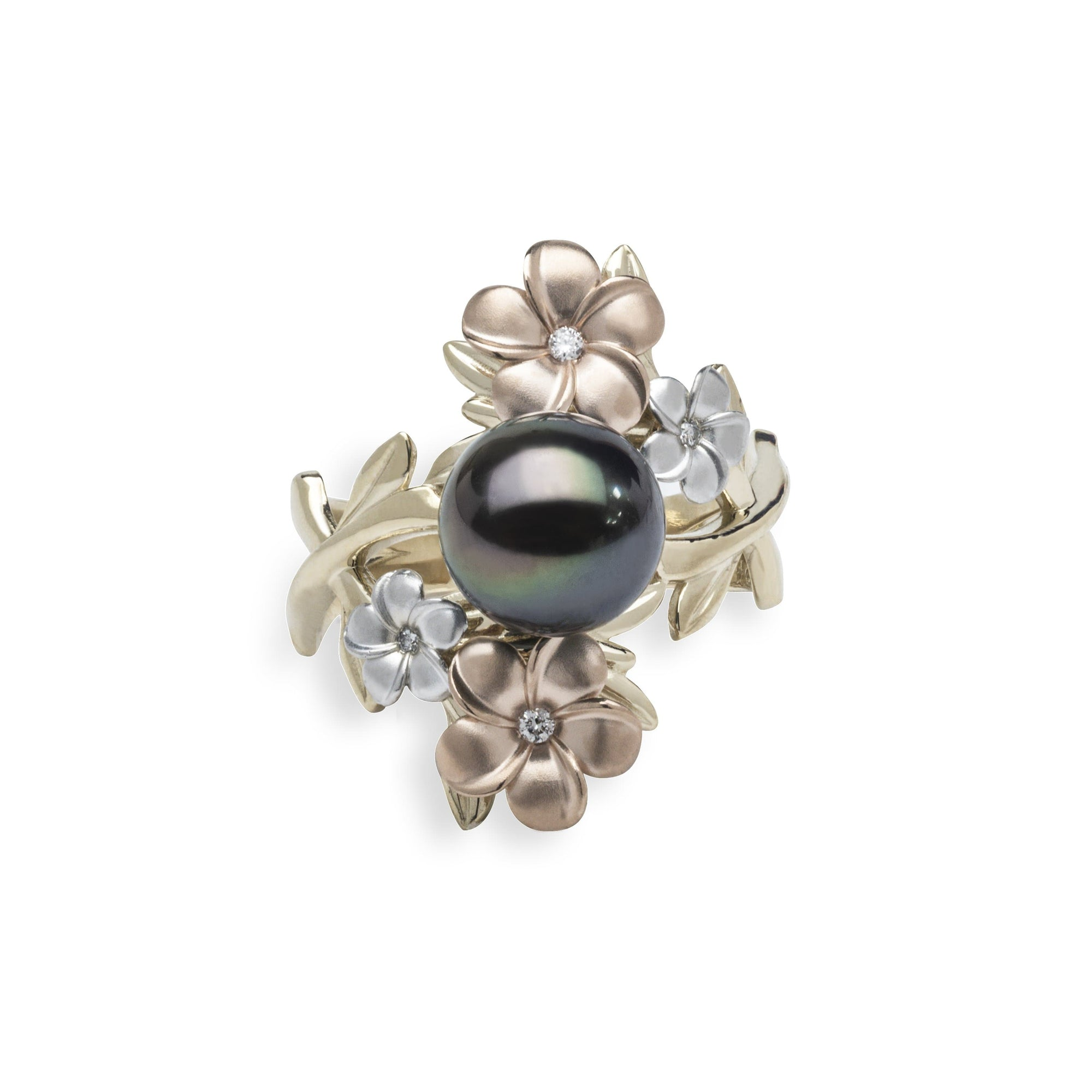 Pearls in Bloom Tahitian Black Pearl Ring in Tri Color Gold with Diamonds - 006-15401 Side