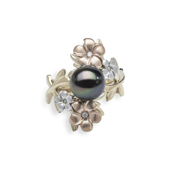 Pearls in Bloom Tahitian Black Pearl Ring in Tri Color Gold with Diamonds - 22mm-Maui Divers Jewelry