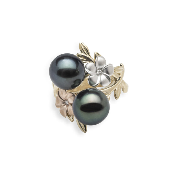 Pearls in Bloom Tahitian Black Pearl Ring in Tri Color Gold with Diamonds - 23mm-Maui Divers Jewelry