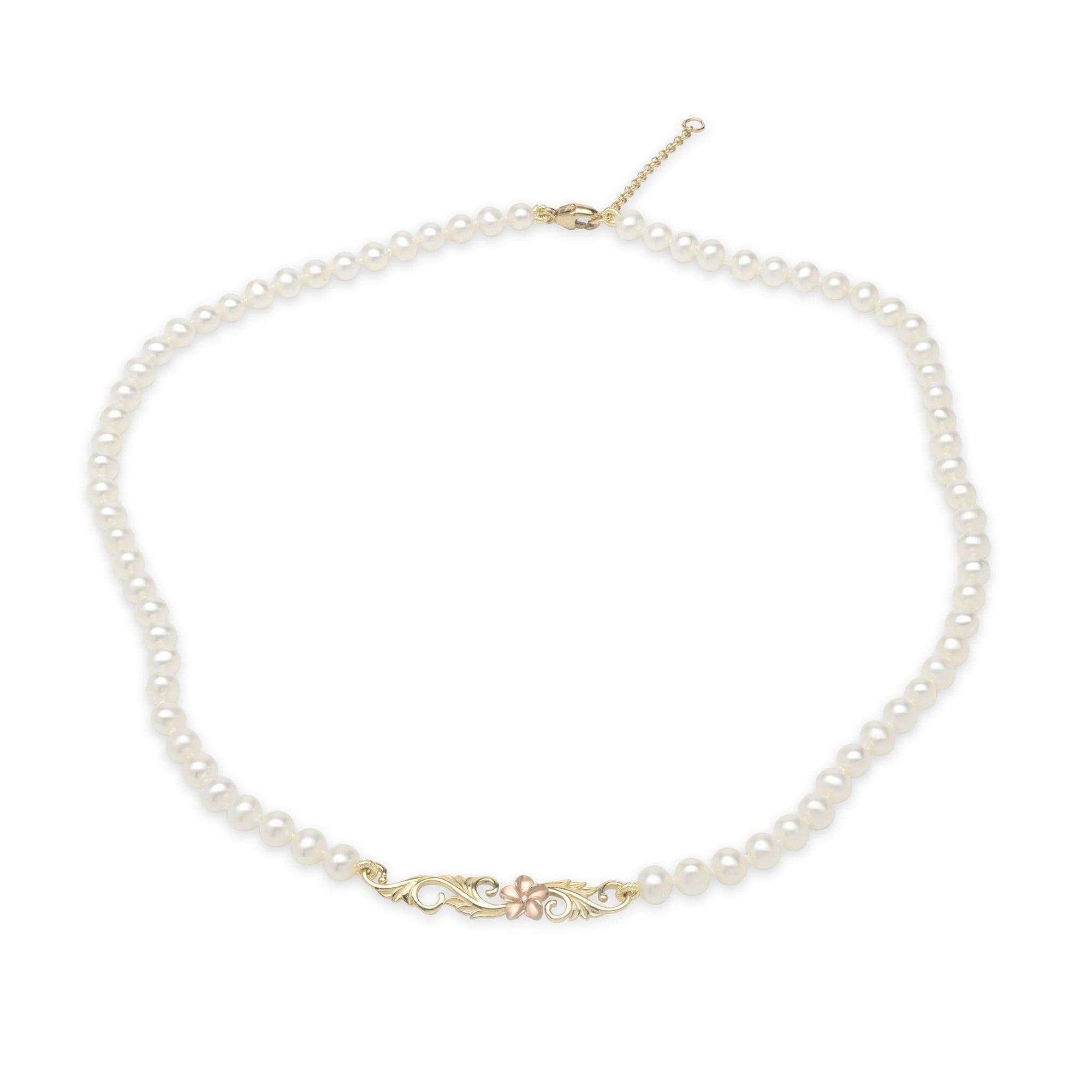 "16-17"" Adjustable Freshwater Pearl Necklace with Diamaond in Two-Tone Gold-[SKU]"