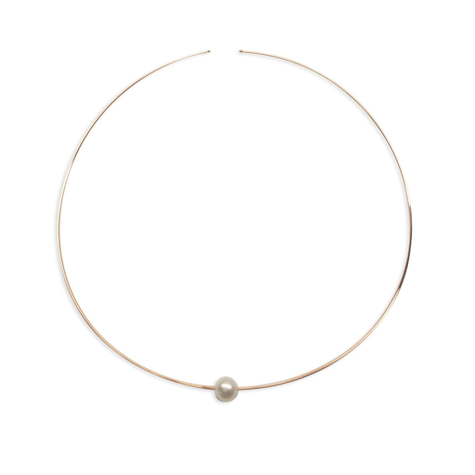 "16"" White Freshwater Pearl Open Wire Necklace in 14K Rose Gold - Maui Divers Jewelry"