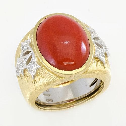Red Coral Ring in 18K Two-Tone Gold with Diamonds