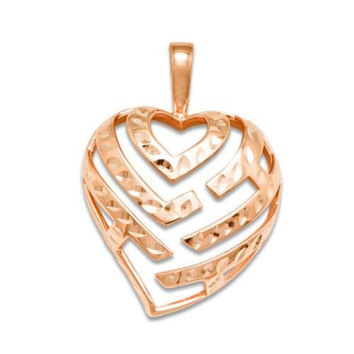Aloha Heart Pendant in 14K Rose Gold - 24mm
