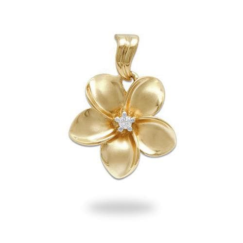 Plumeria Pendant in Gold with Diamond - 18mm-Maui Divers Jewelry