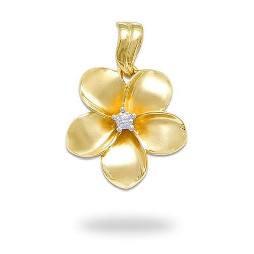 Plumeria Pendant with Diamond in 14K Yellow Gold - 23mm