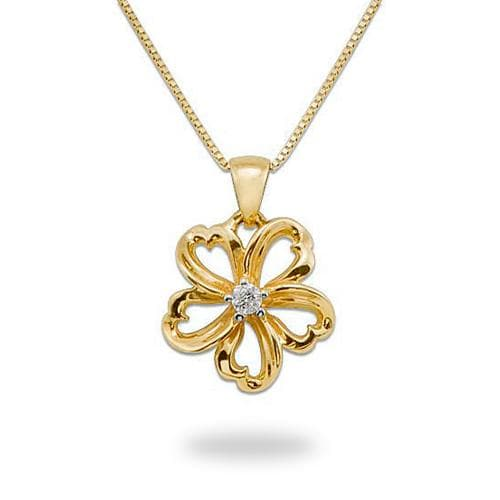 Plumeria Necklace With Diamond In 14k Yellow Gold 14mm