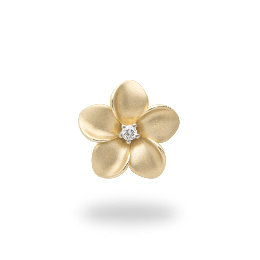 Plumeria Pendant with Diamond in 14K Yellow Gold - 16mm