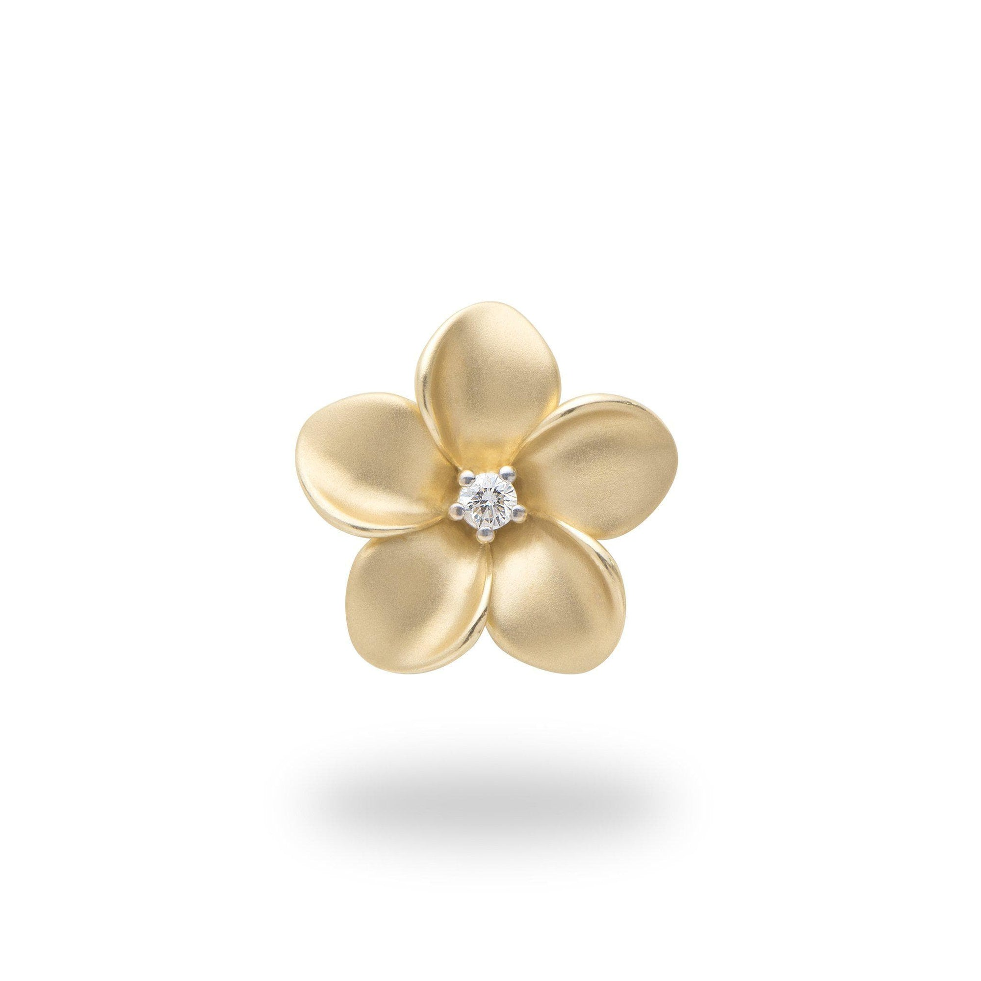 Plumeria Pendant in Gold with Diamond - 16mm-[SKU]