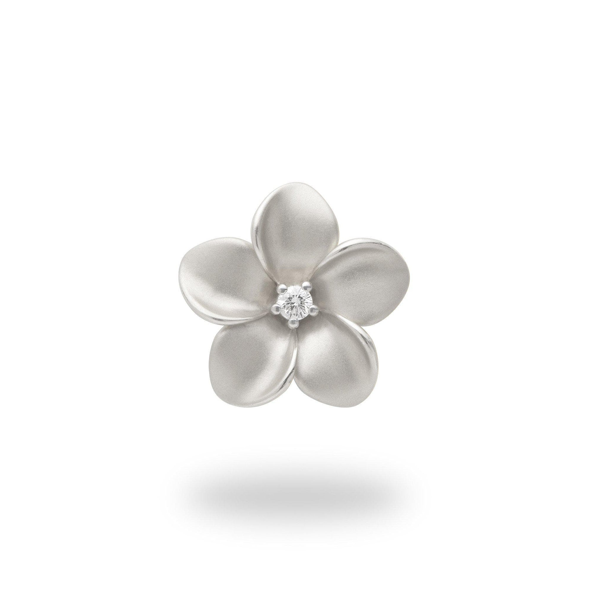 Plumeria Pendant in White Gold with Diamond - 16mm-[SKU]