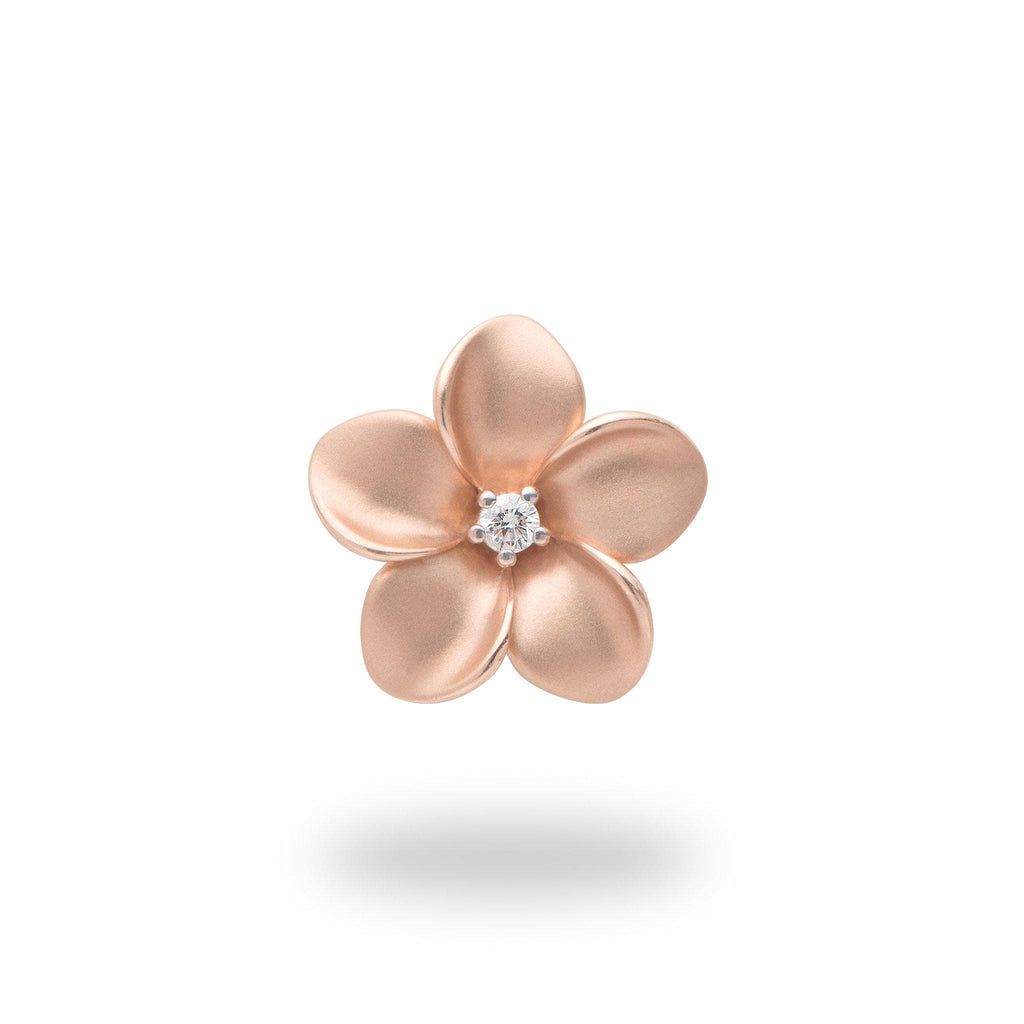 Plumeria Pendant in Rose Gold with Diamond - 16mm-[SKU]