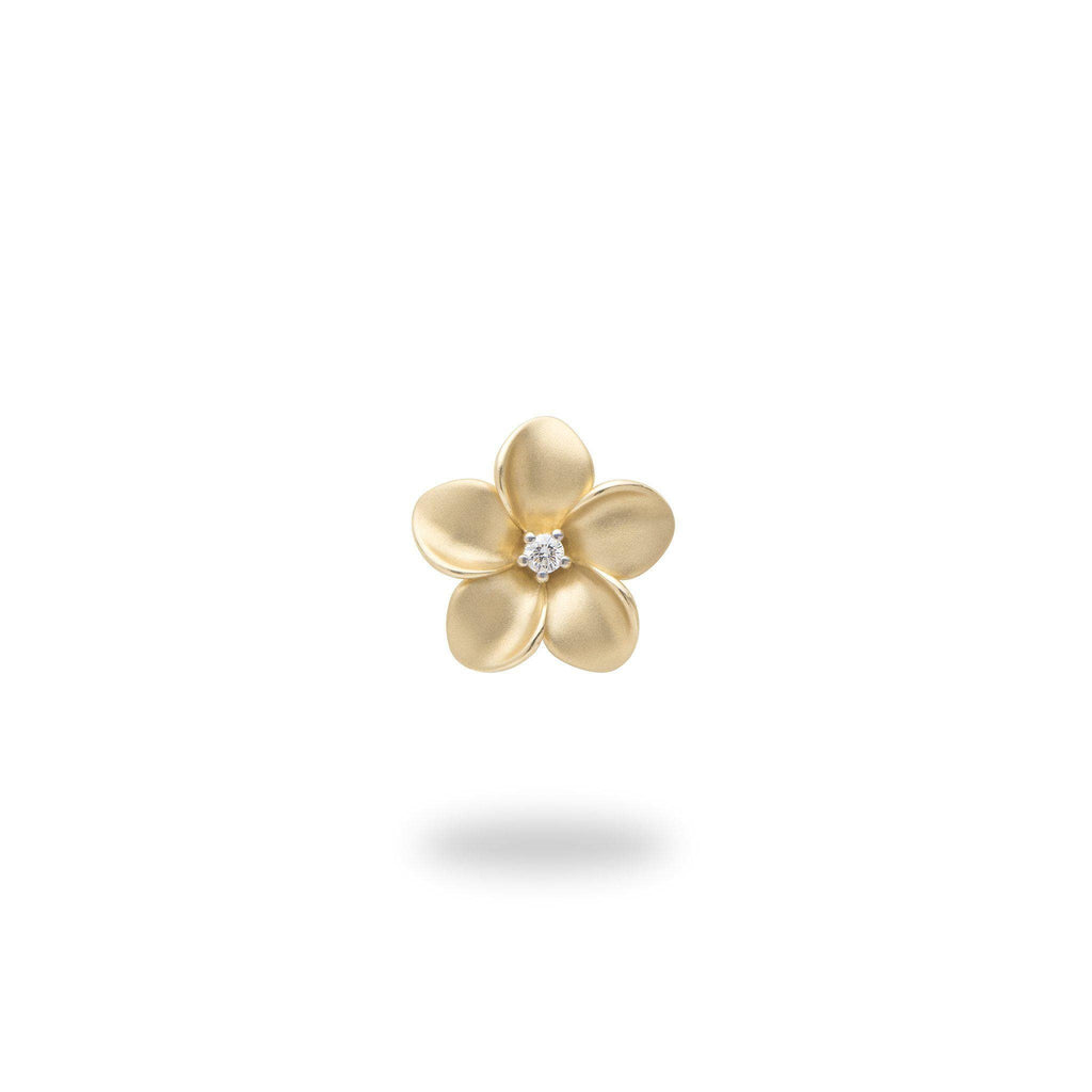 Plumeria Pendant with Diamond in 14K Yellow Gold - 11mm - Maui Divers Jewelry