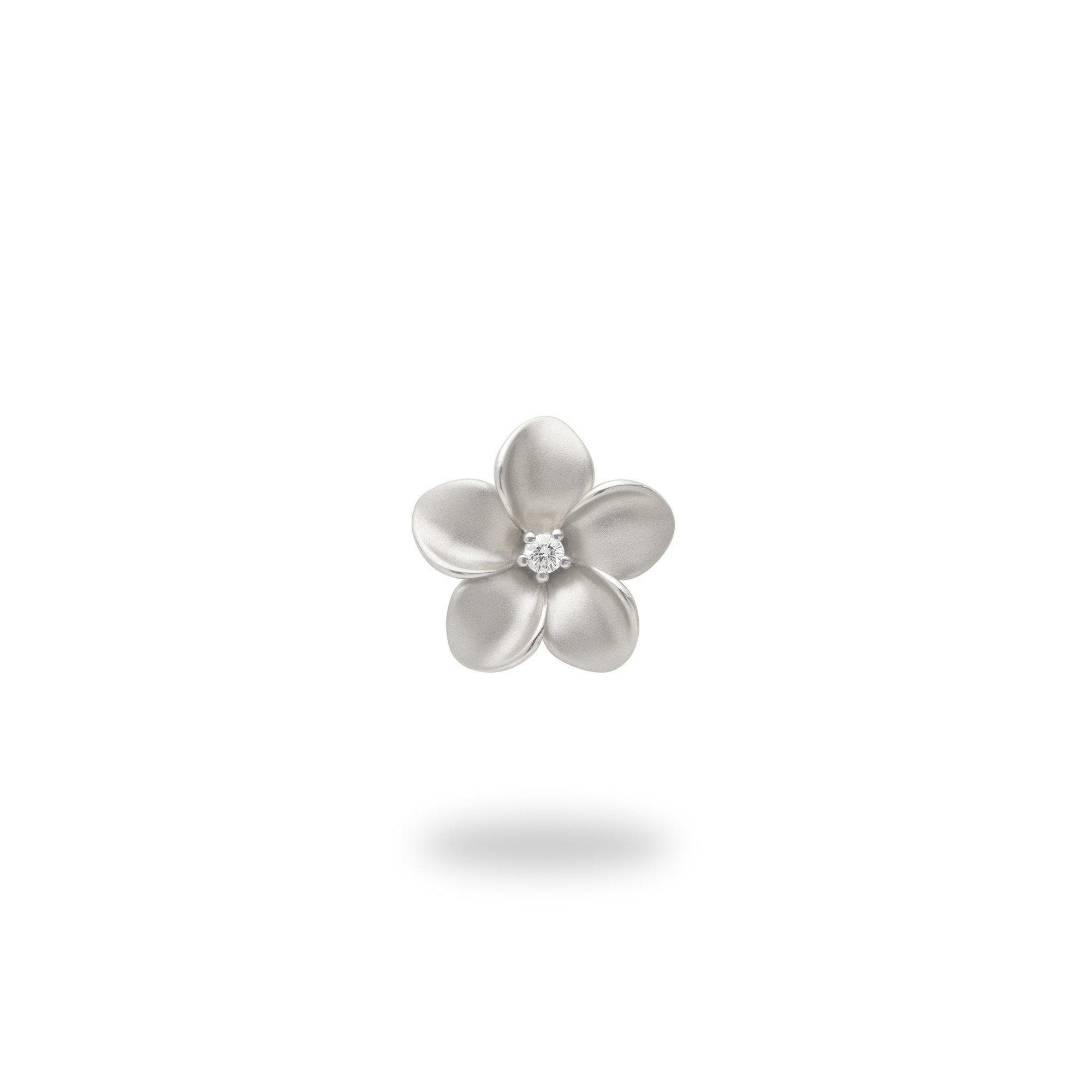 Plumeria Pendant in White Gold with Diamond - 11mm-[SKU]