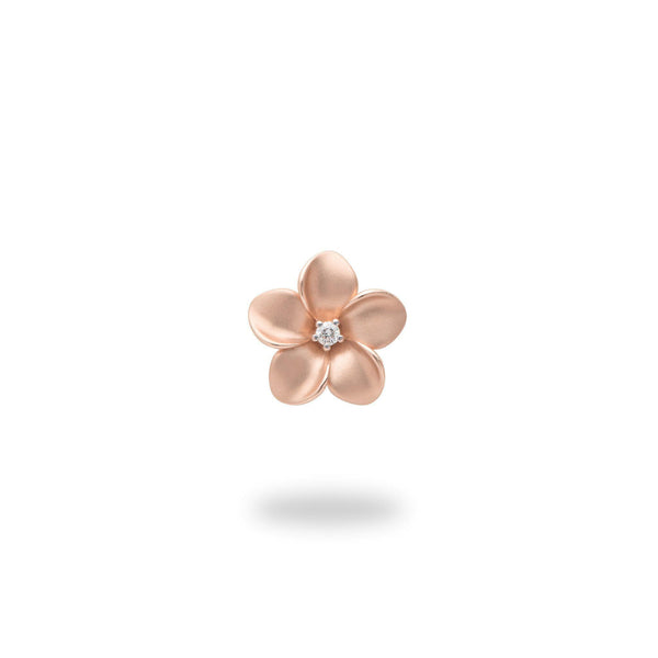 Plumeria Pendant in Rose Gold with Diamond - 11mm-[SKU]