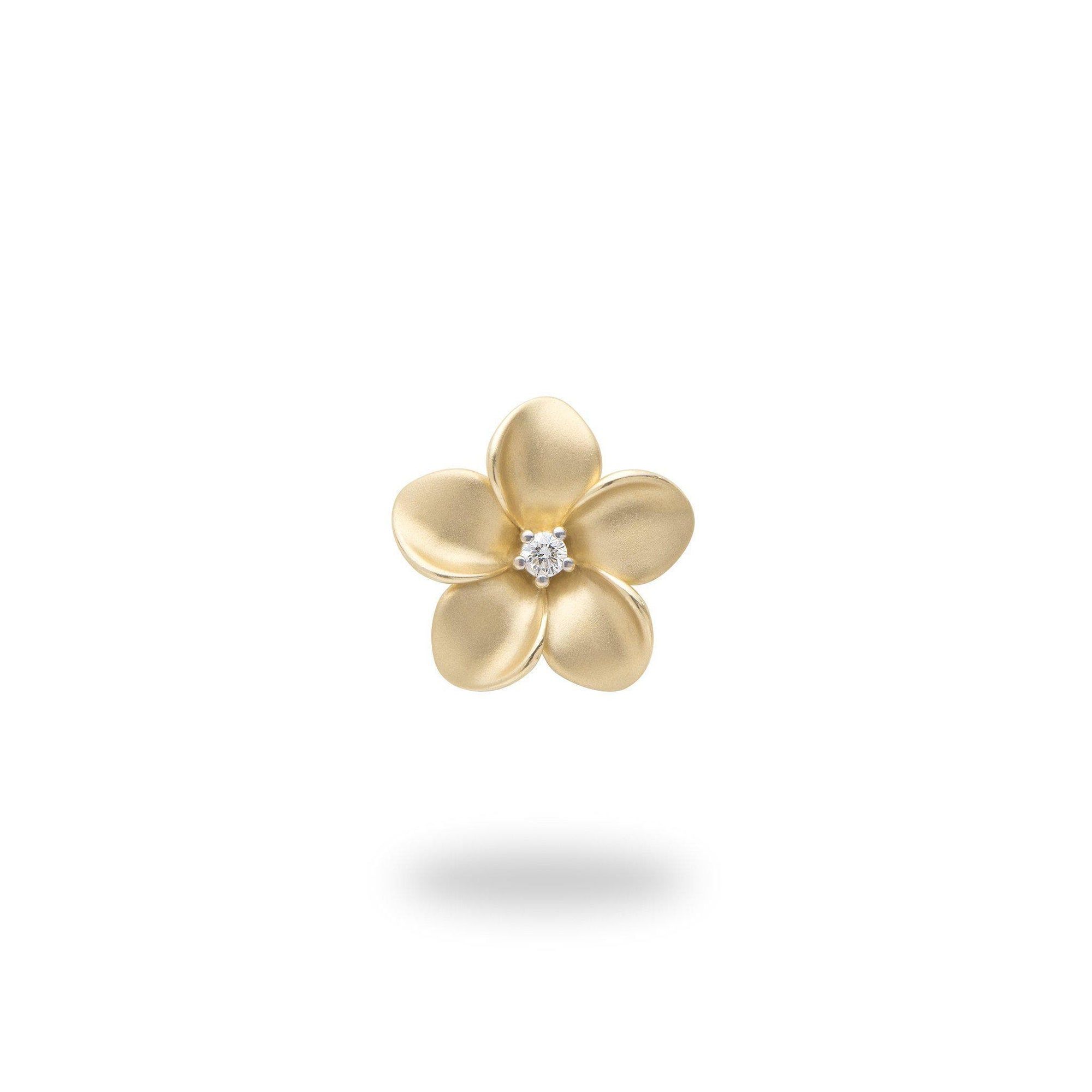 Plumeria Pendant in Gold with Diamond - 13mm-[SKU]