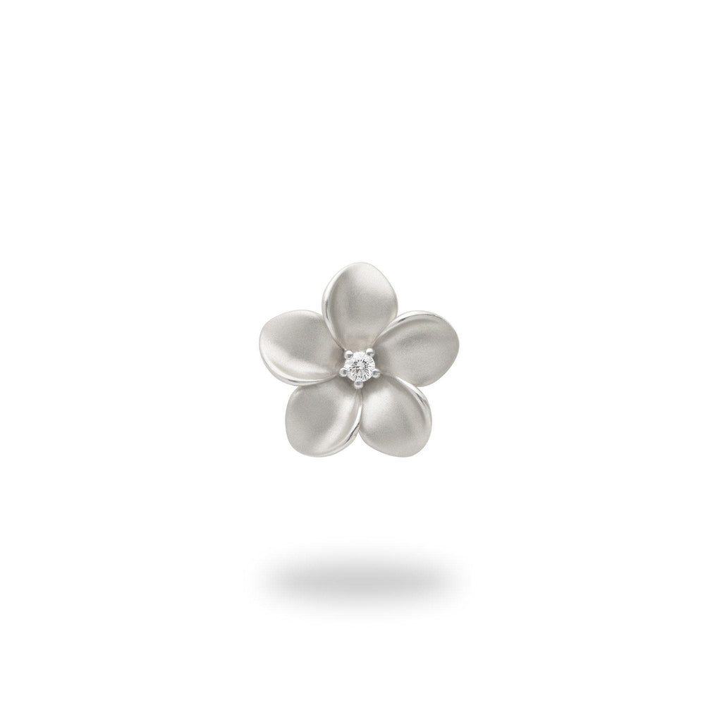 Plumeria Pendant in White Gold with Diamond - 13mm-[SKU]