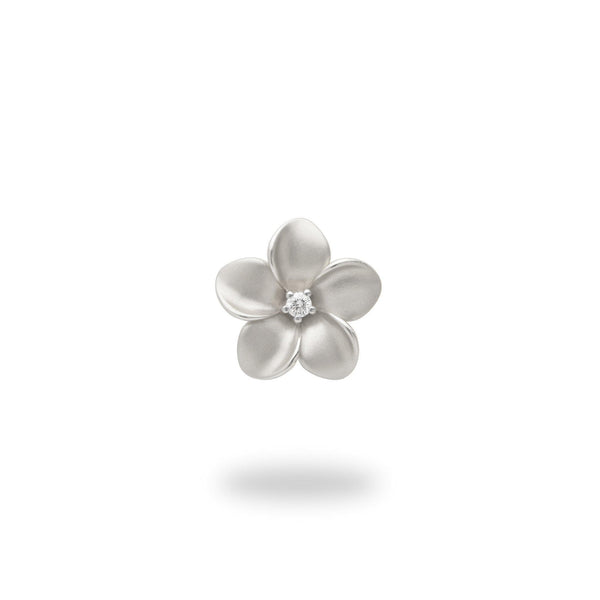 Plumeria Pendant in White Gold with Diamond - 13mm-Maui Divers Jewelry