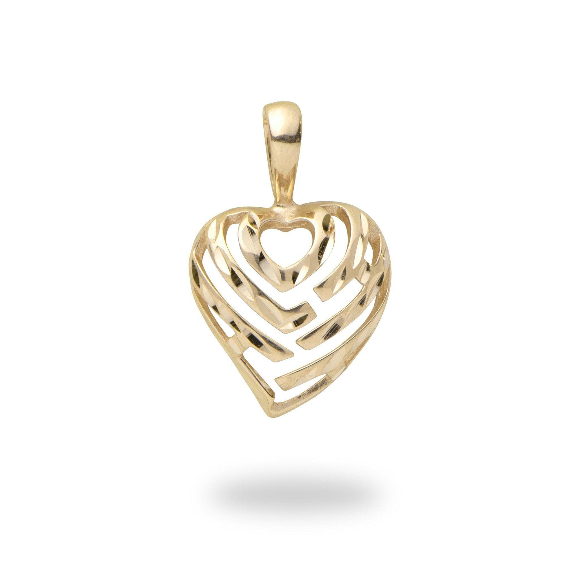 Aloha Heart Pendant in Gold - 12mm-[SKU]