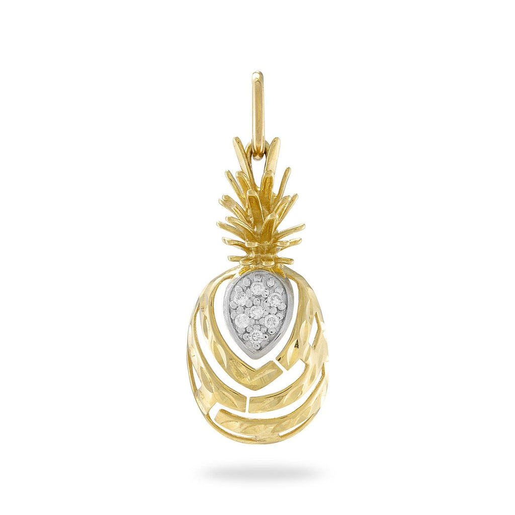 Aloha Pineapple Pendant with Diamonds in 14K Yellow Gold - Medium - Maui Divers Jewelry