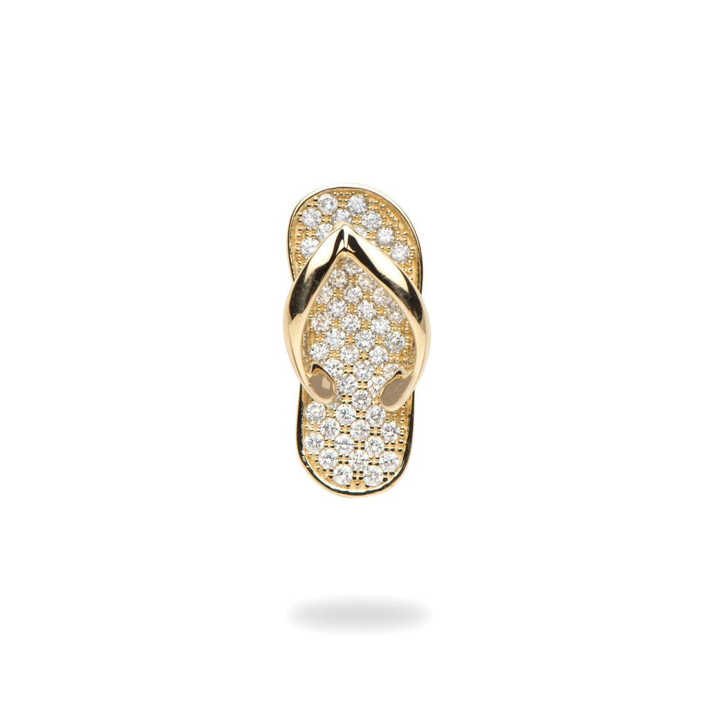 Slipper Pendant with Diamonds in 14K Yellow Gold