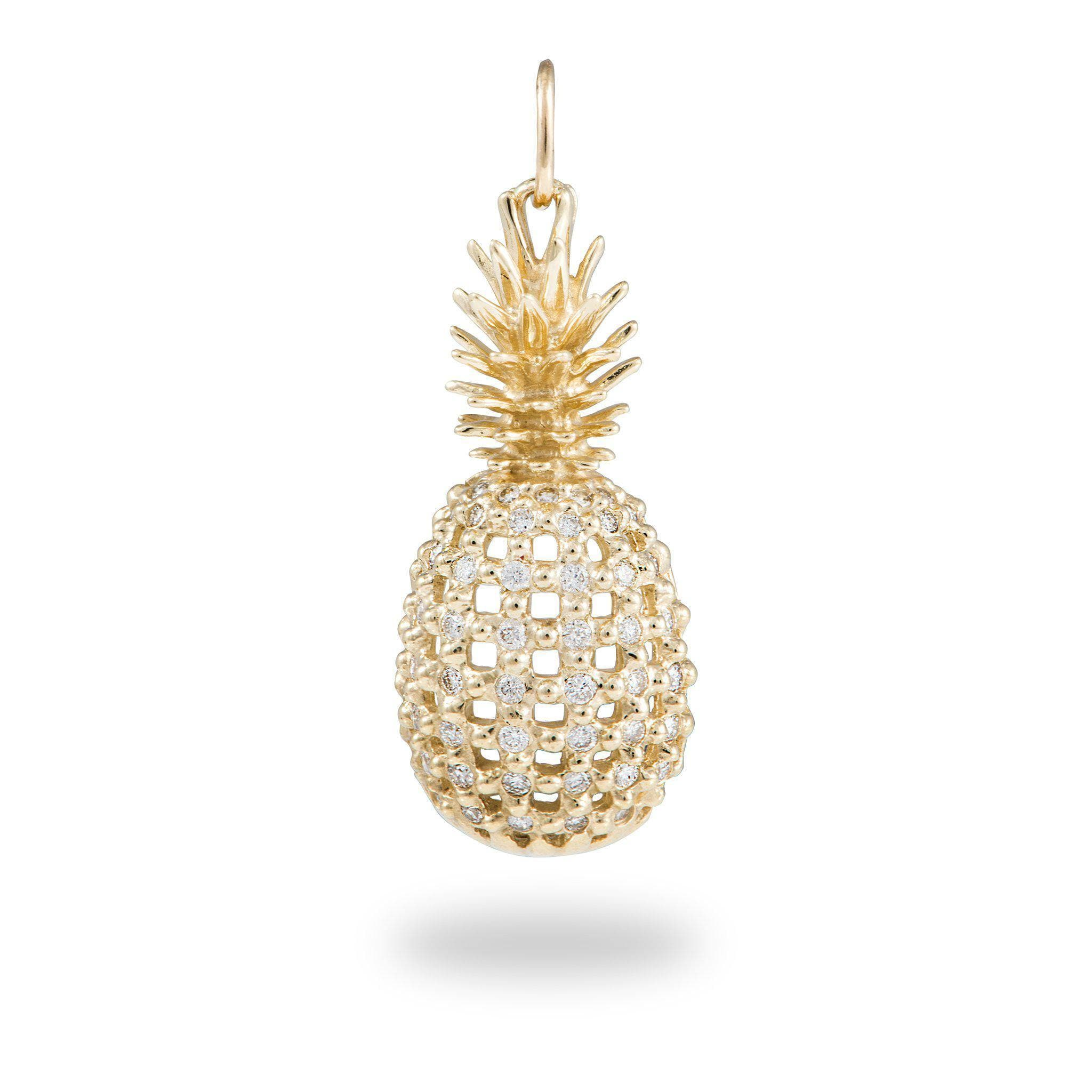 Pineapple Pendant With Diamonds In 14k Yellow Gold
