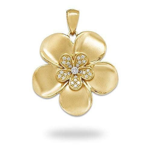 Plumeria Pendant with Diamonds in 14K Yellow Gold - 28mm