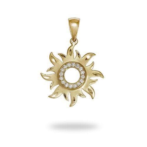 Sun Pendant with Diamonds in 14K Yellow Gold - 17mm