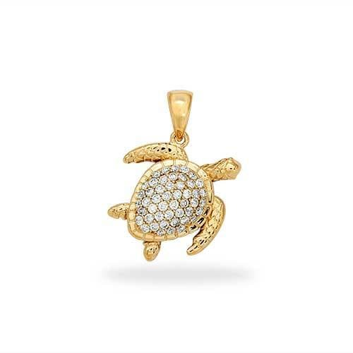 Turtle Pendant with Diamonds in 14K Yellow Gold - Extra Small