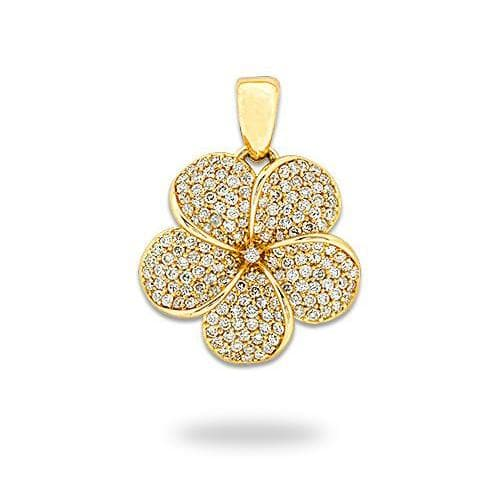 Plumeria Pendant in Gold with Diamonds - 19mm