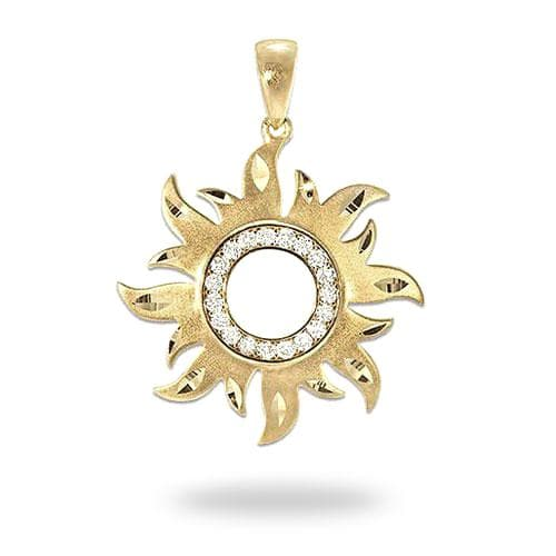 Sun Pendant with Diamonds in 14K Yellow Gold - 29mm