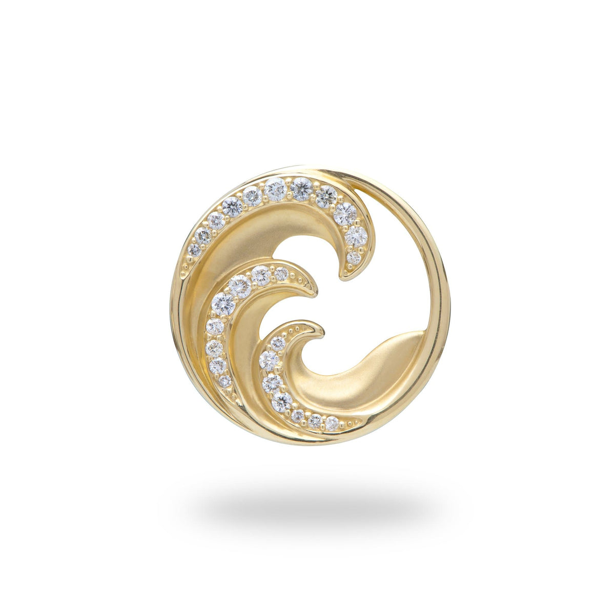 Nalu Pendant in Gold with Diamonds - 22mm - Maui Divers Jewelry
