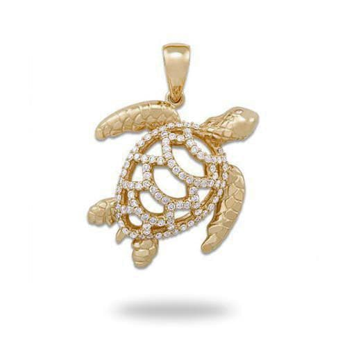 Turtle Pendant with Diamonds in 14K Yellow Gold - Extra Large