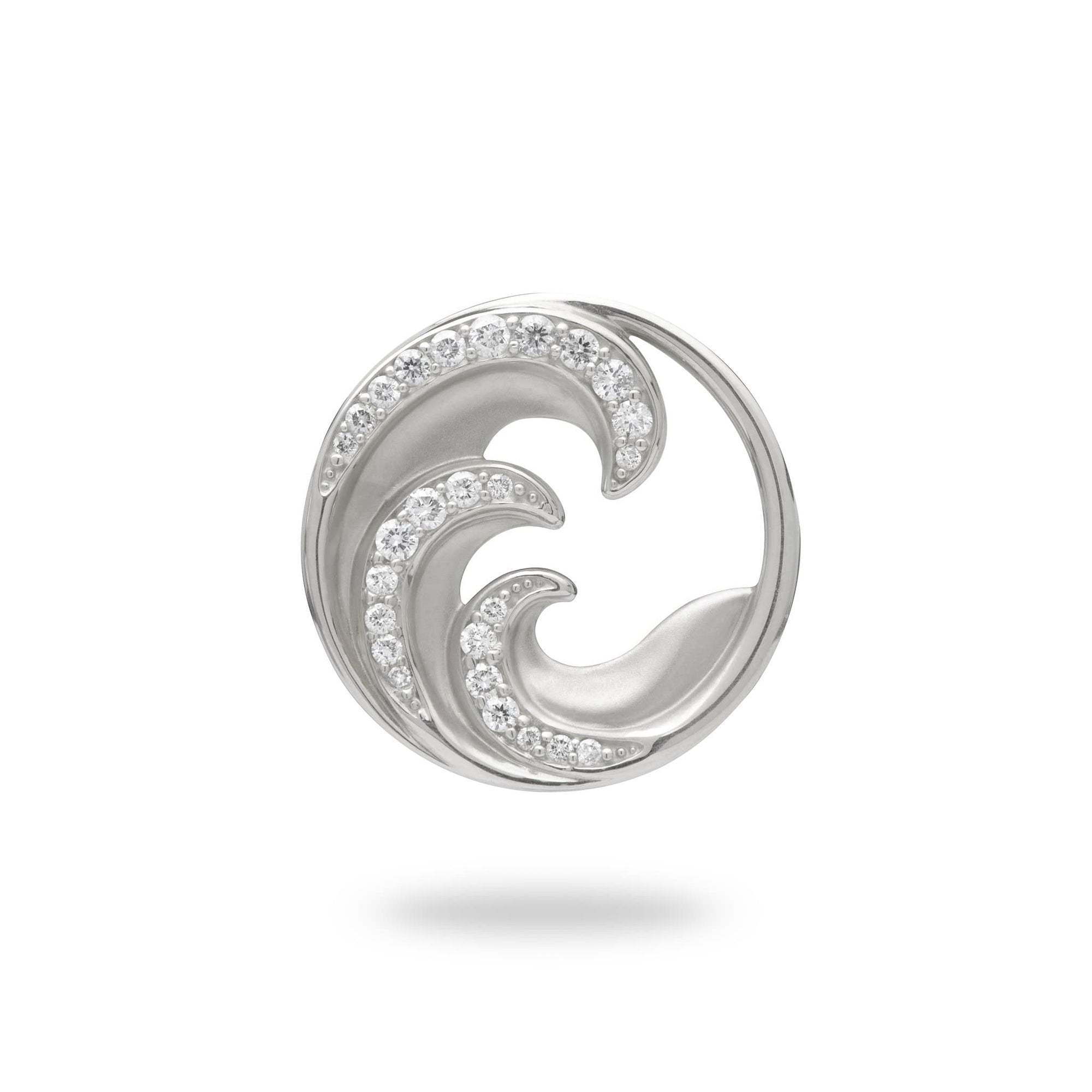 Nalu Pendant in White Gold with Diamonds - 22mm - Maui Divers Jewelry