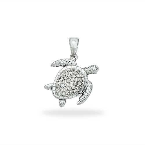 Shop honu sea turtle jewelry at maui divers jewelry turtle pendant with diamonds in 14k white gold extra small mozeypictures Images