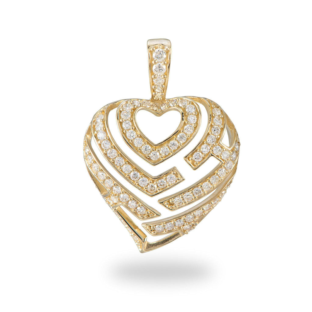 Aloha Heart Pendant in Gold with Diamonds - 18mm-[SKU]