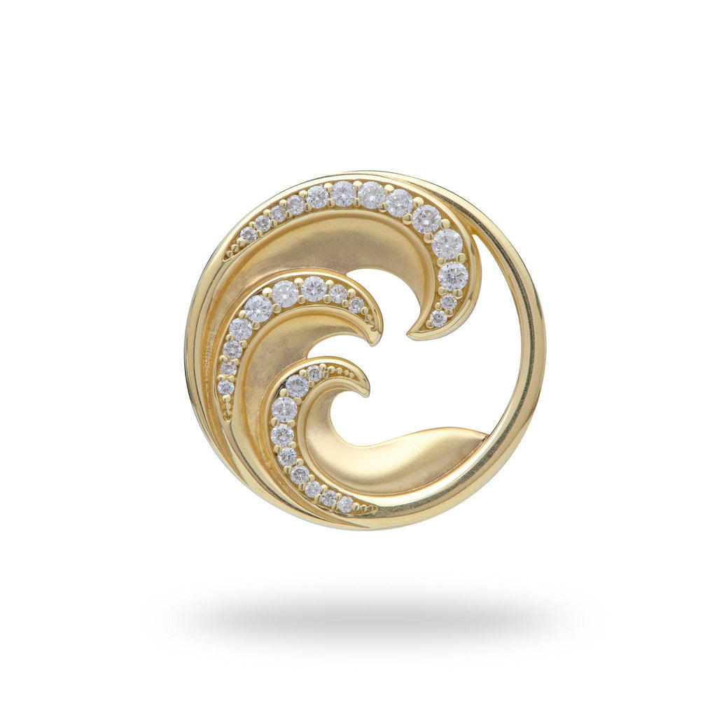 Nalu Pendant with Diamonds in 14K Yellow Gold - 24mm