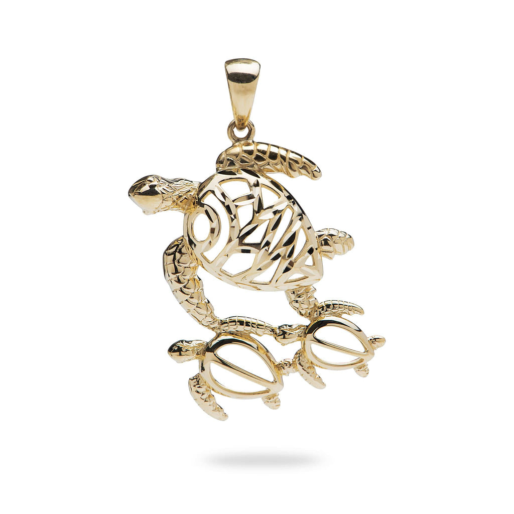 Ohana Turtle Pendant in 14K Yellow Gold - Maui Divers Jewelry