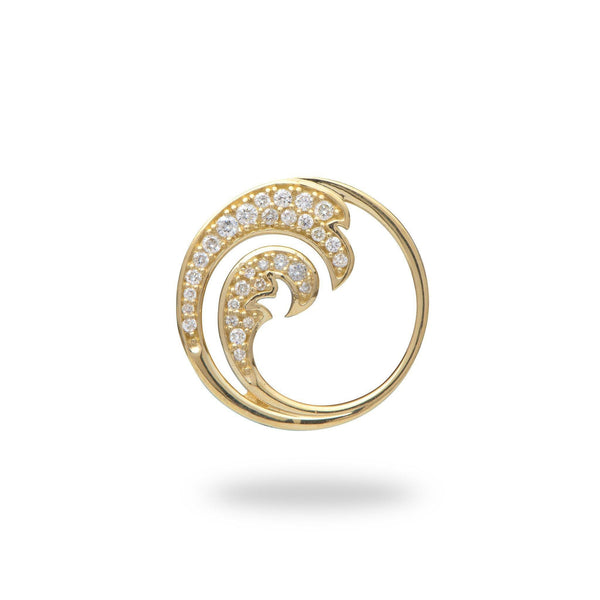 Nalu Pendant in Gold with Diamonds - 18mm-Maui Divers Jewelry
