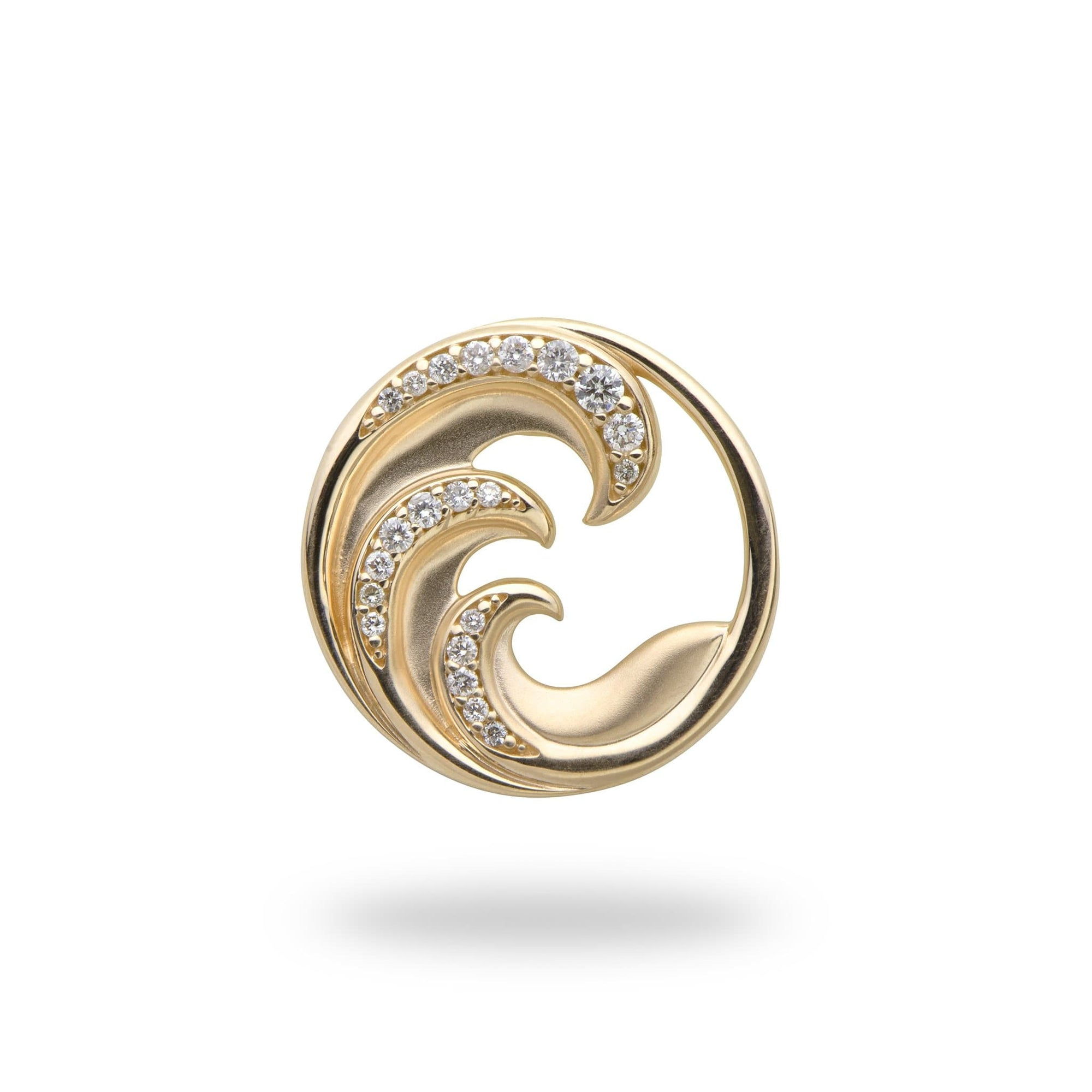 Nalu Pendant in Gold with Diamonds - 18mm - Maui Divers Jewelry