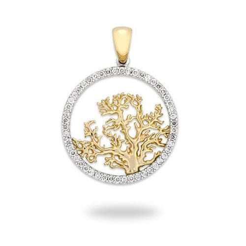 Coral Tree Pendant with Diamonds in 14K Two-Tone Gold - 24mm