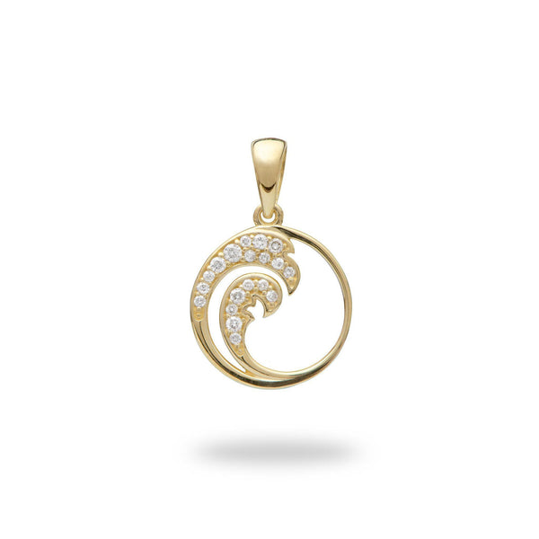 Nalu Pendant in Gold with Diamonds - 12mm-Maui Divers Jewelry