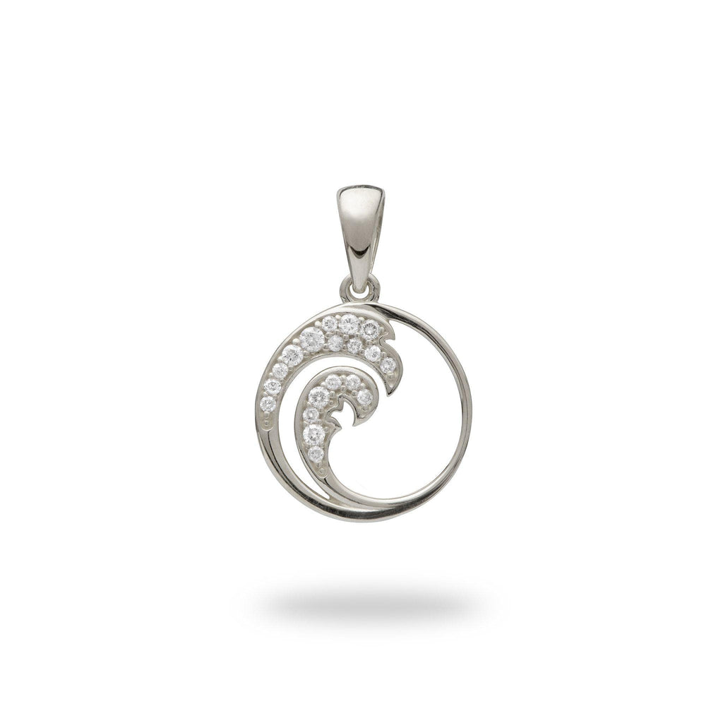 White gold wave pendant