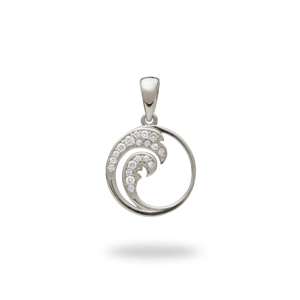 Nalu Pendant in White Gold with Diamonds - 12mm-Maui Divers Jewelry