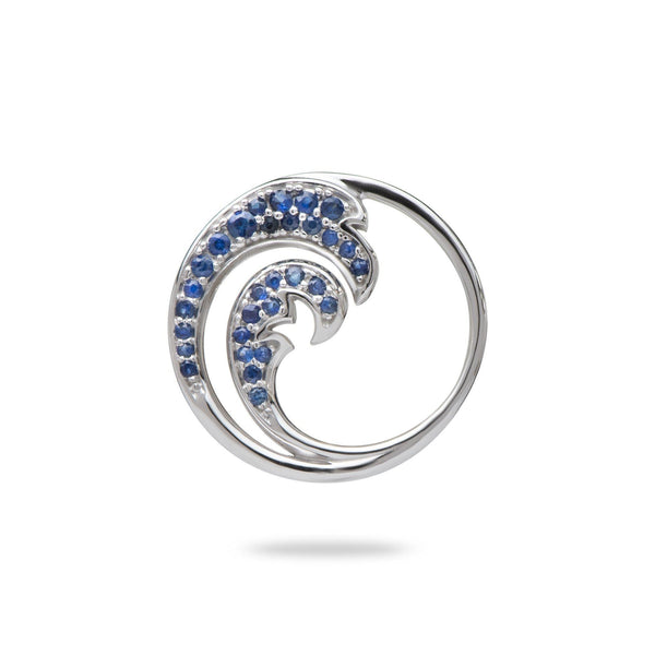 Nalu Pendant in White Gold with Blue Sapphires - 22mm - Maui Divers Jewelry